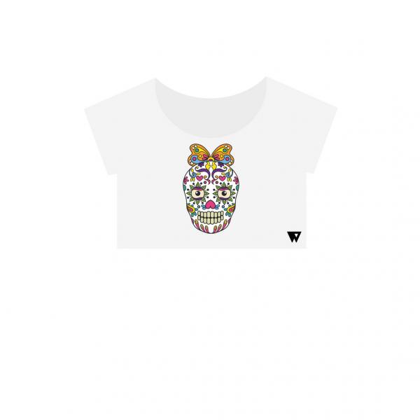 Crop Top Butterfly Skull | Wuzzee