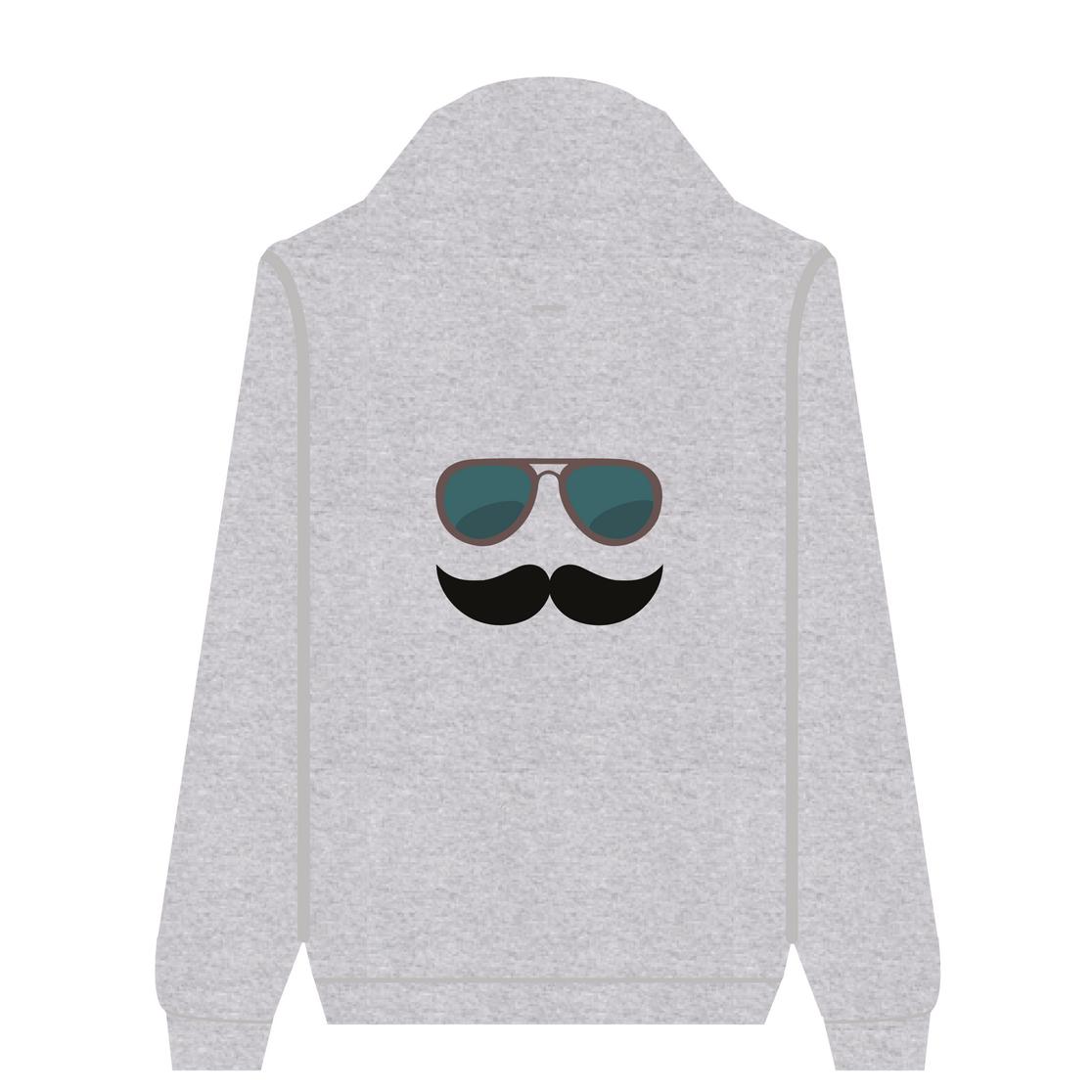 Full Zip Hoodie Mustache Glasses | Wuzzee