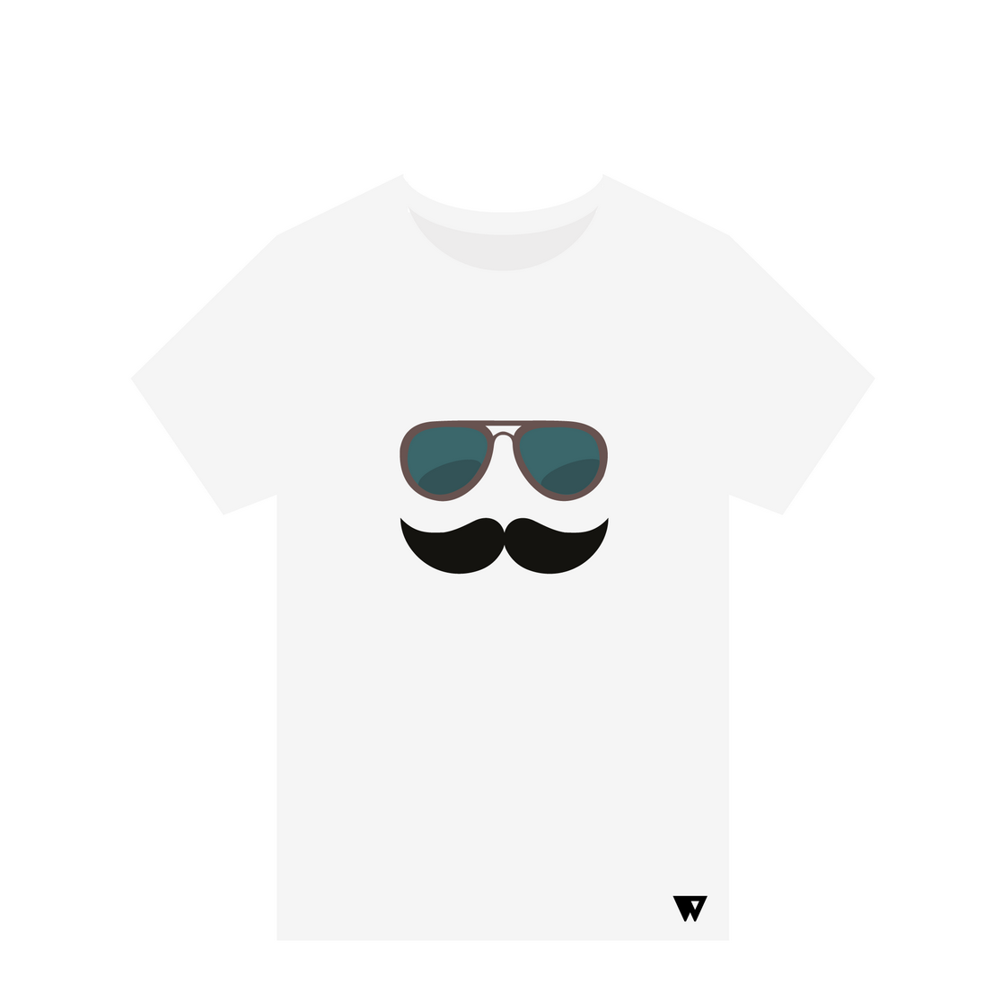 T-Shirt Mustache Glasses | Wuzzee